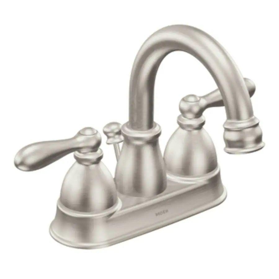Moen caldwell 2 handle 4 in centerset watersense bathroom faucet drain included