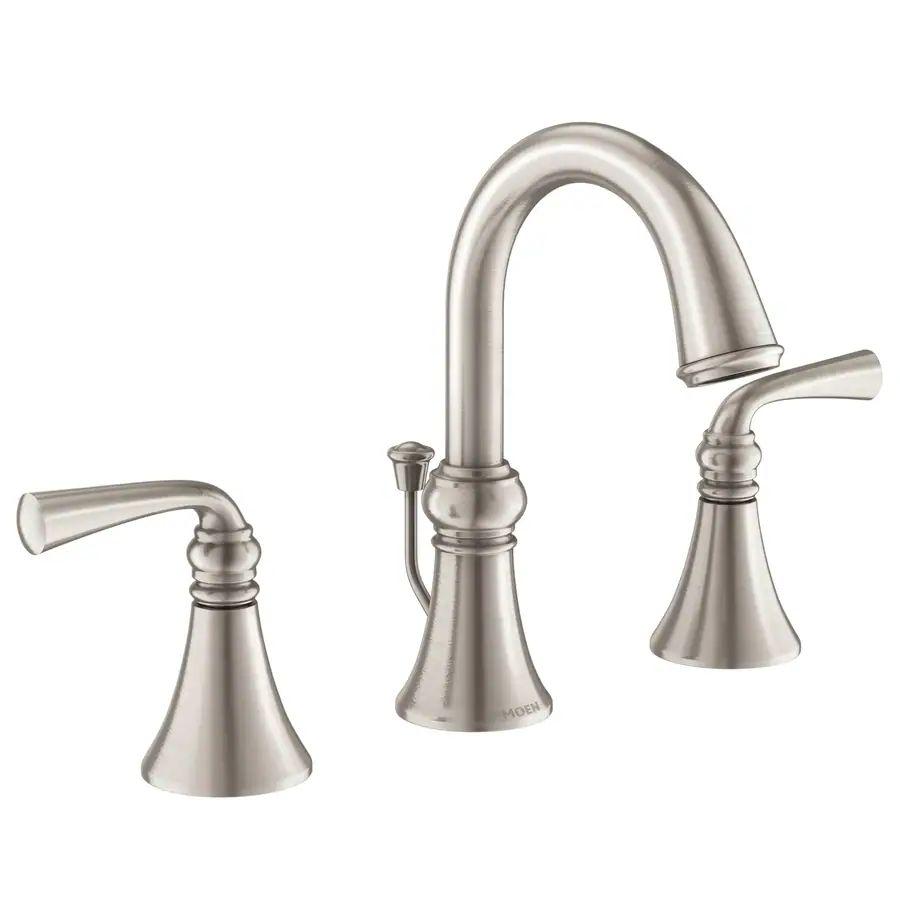 Moen wetherly spot resist brushed nickel 2 handle widespread bathroom faucet