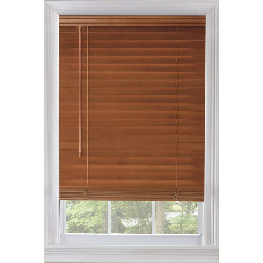 Wood Mini Blinds Custom Size Now By Levolor 65 In W X 54 In L Warm Cherry Wood 2 In