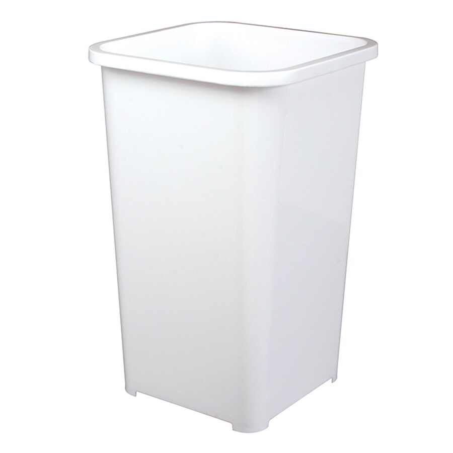 Laundry Trash Cans Knape Vogt 6 75 Gallon White Plastic Trash Can At Lowes