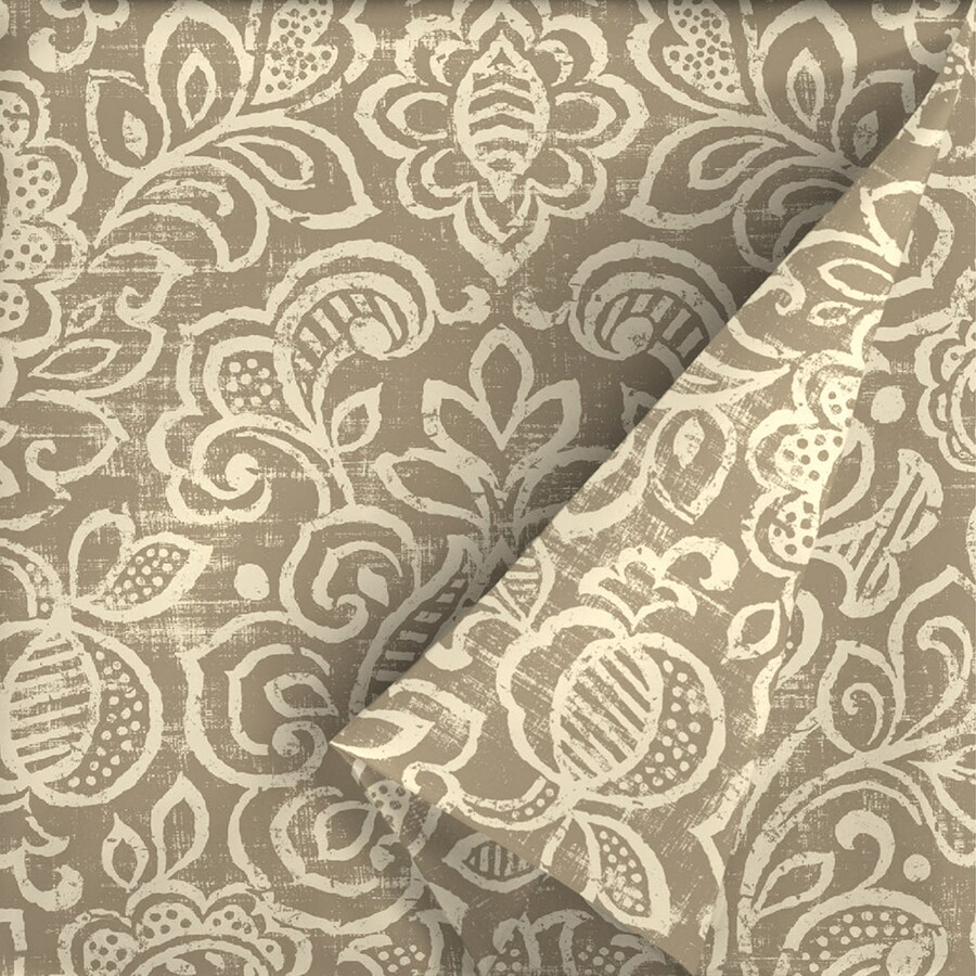 Outdoor Curtain Fabric By The Yard Arden Outdoor Neutral Stencil 54 In W Floral Outdoor Fabric By