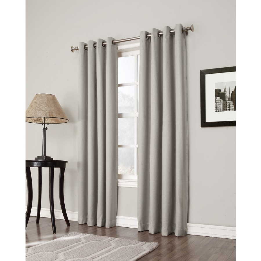 36 Inch Room Darkening Curtains Allen Roth Bandley 84 In Sand Polyester Grommet Blackout Single