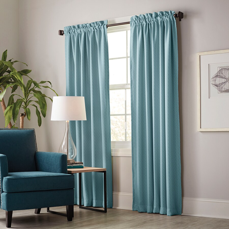 Teal Blackout Curtains Allen Roth Guestling 84 In Teal Polyester Rod Pocket Blackout