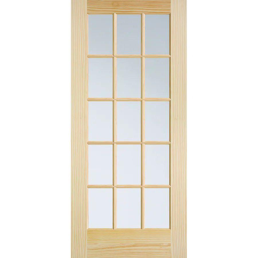 Masonite classics solid core clear glass pine slab interior door common 36 in