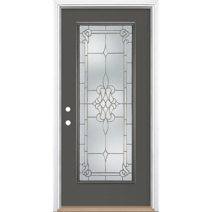 Timber Glass Doors Masonite Stately Full Lite Decorative Glass Right Hand Inswing