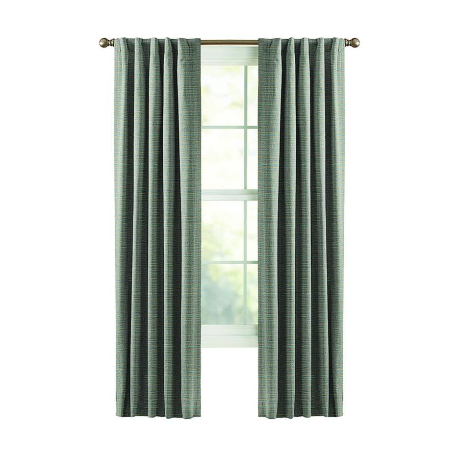 Heavy Thermal Curtains Style Selections Roberta 84 In Blue Polyester Back Tab Room