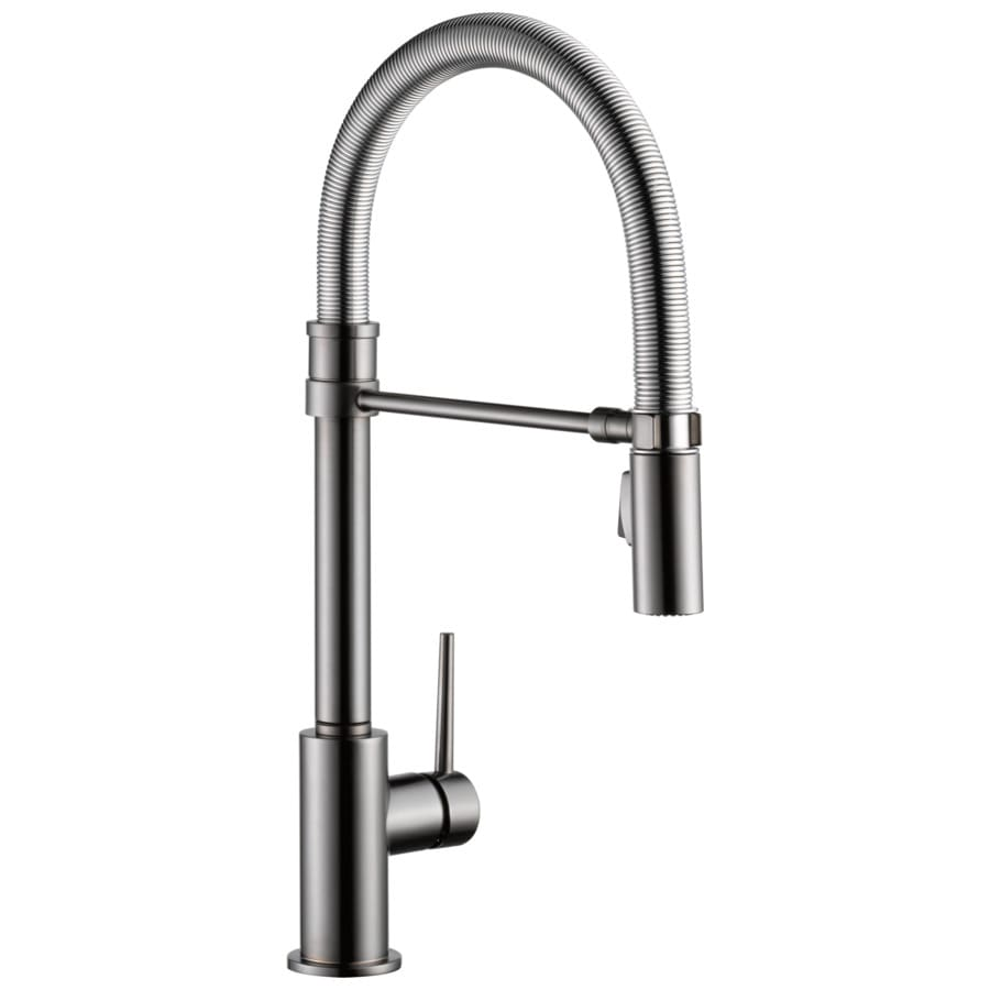 Cool Kitchen Faucet Delta Trinsic Pro Black Stainless 1 Handle Deck Mount Pull Down