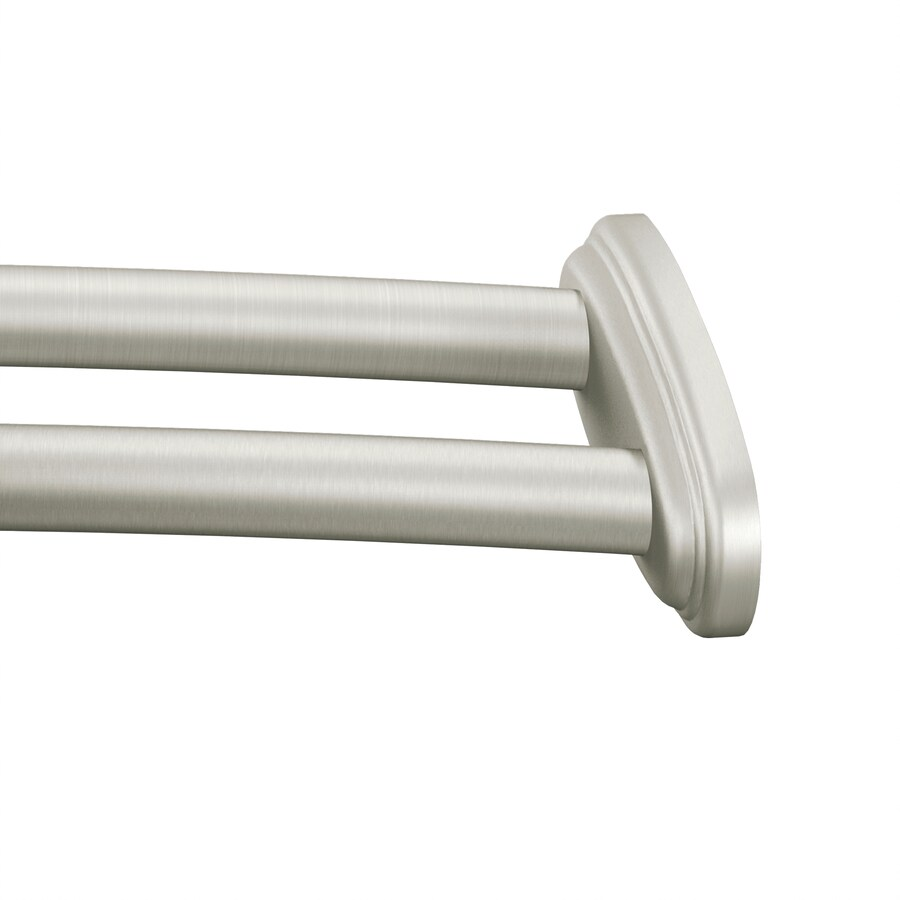 Brushed Nickel Double Curtain Rod Moen 57 60 In Brushed Nickel Curved Adjustable Double Shower