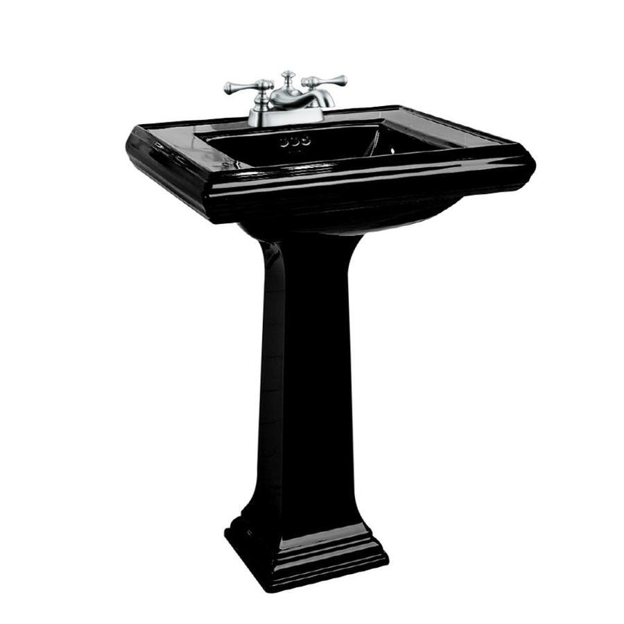 Shop Kohler Memoirs 35 In H Black Fire Clay Pedestal Sink