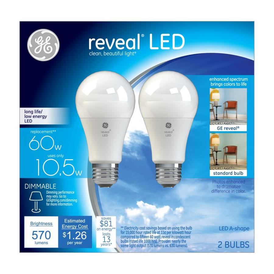 Does Lowes Recycle Light Bulbs Ge Reveal 60 Watt Eq A19 Color Enhancing Led Light Bulb 2 Pack