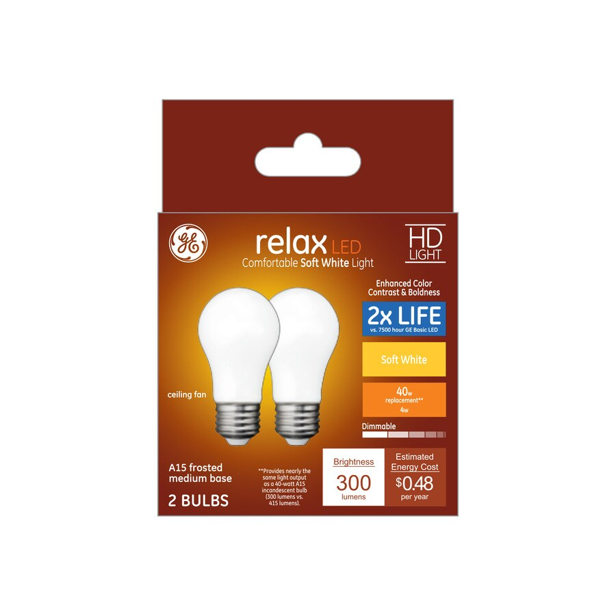 40 Watt In Lumen Ge Relax 40 Watt Eq A15 Soft White Dimmable Led Light Bulb 2 Pack