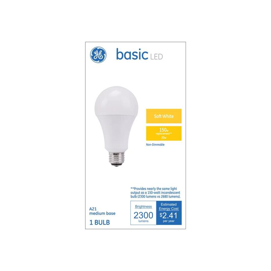 Led White Ge Basic 150 Watt Eq A21 Soft White Led Light Bulb At Lowes