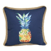 Shop allen + roth Pineapple Blue Outdoor Decorative Pillow ...
