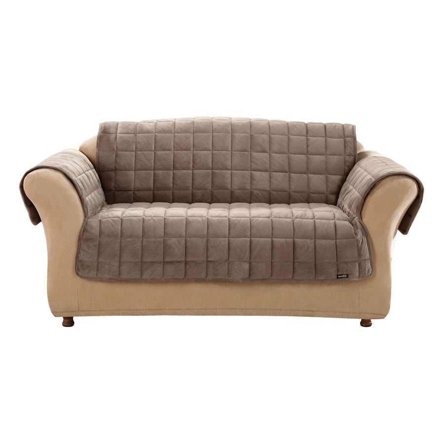 Grey Sofa Slipcover Deluxe Quilted Brown Duck Canvas Sofa Slipcover At Lowes