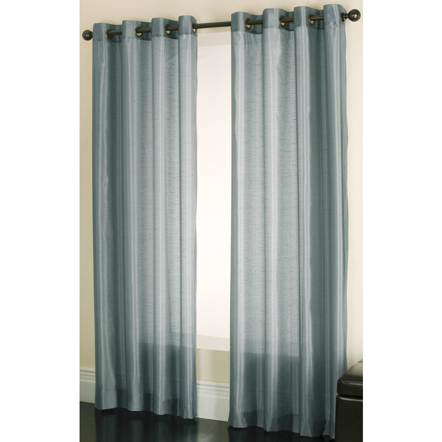 China Blue Curtains Allen Roth Edistone 84 In L Solid Blue Grommet Window Sheer
