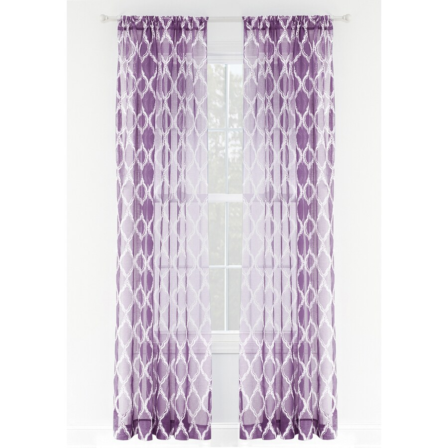 Lavender Sheer Curtains Style Selections Jareth 84 In Purple Polyester Rod Pocket Sheer