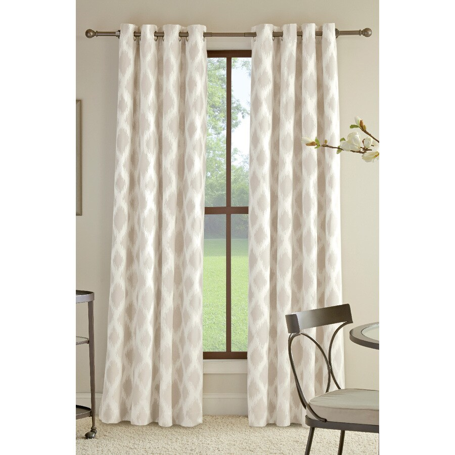 Cotton Curtain Panels Allen Roth Bookner 84 In Neutral Cotton Light Filtering Single