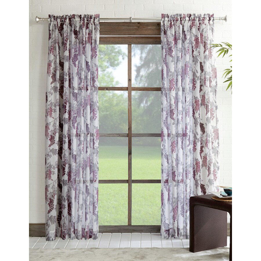 Lavender Sheer Curtains Allen Roth Verlette 84 In Purple Polyester Rod Pocket Light