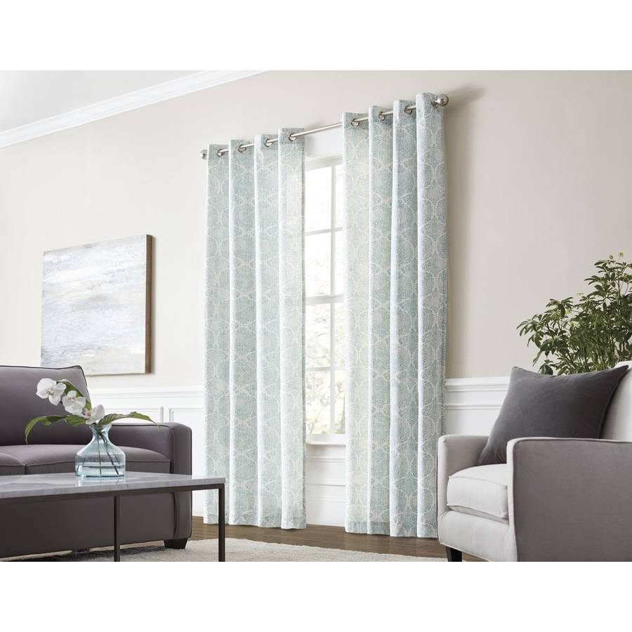 108 Inch Curtain Panels Allen Roth Lapeer 84 In Seaglass Cotton Grommet Light Filtering