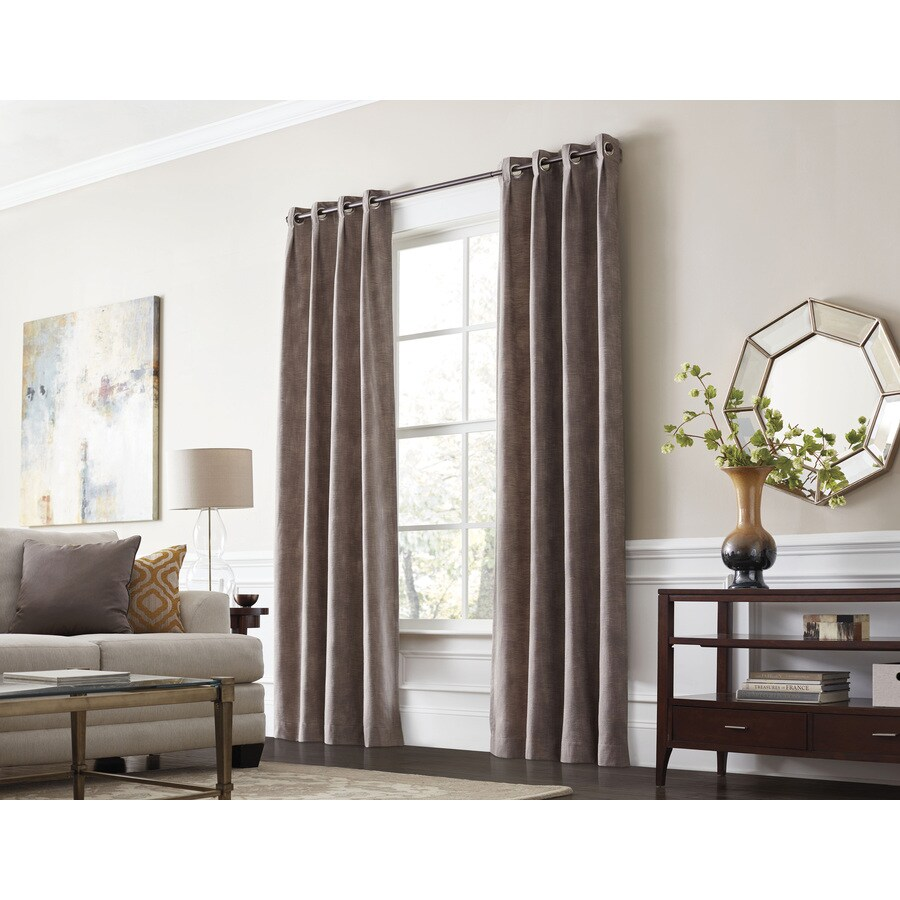 Thermal Patio Door Curtains With Grommets Allen Roth Winbourne 84 In Sand Polyester Grommet Room Darkening