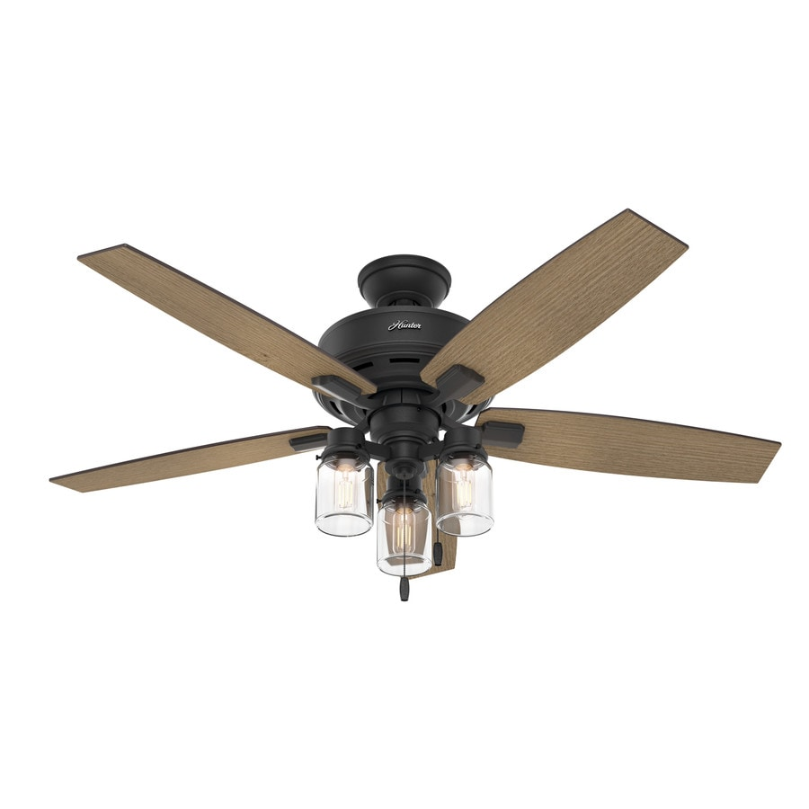 Rustic Ceiling Fan Light Fixtures Hunter Lincoln Edison Style Led 52 In Natural Iron Led Indoor