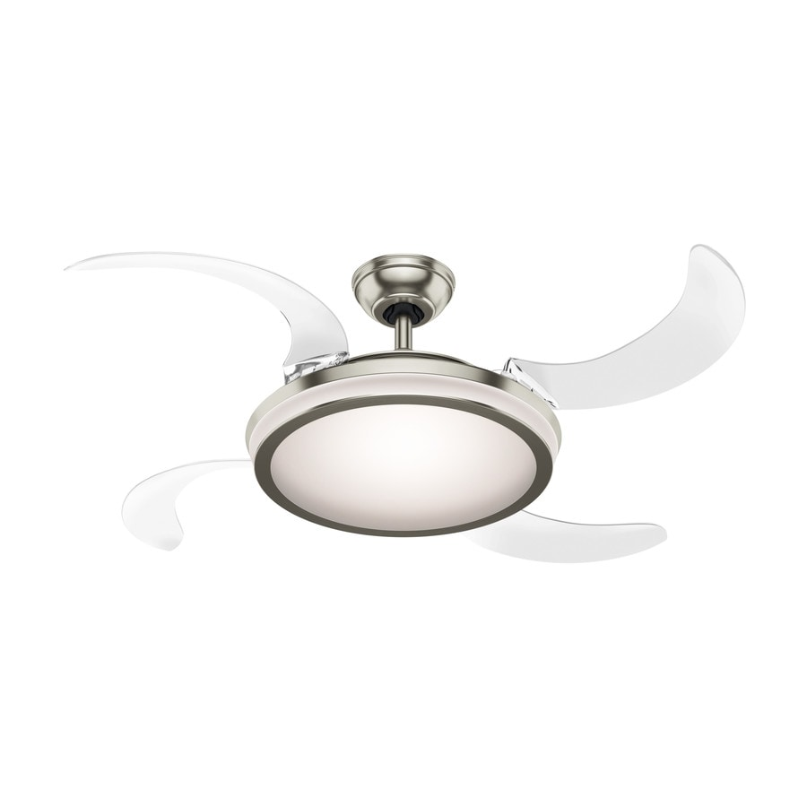 Ceiling Fan With Folding Blades Hunter Fanaway Retractable Blade 48 In Brushed Chrome Indoor