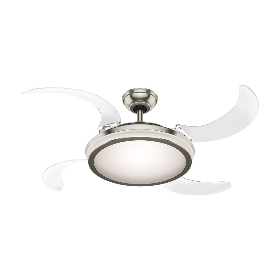 Unusual Ceiling Fans For Sale Hunter Fanaway Retractable Blade 48 In Brushed Chrome Indoor