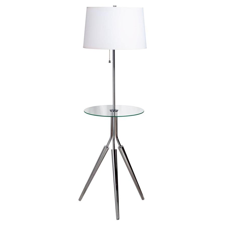 End Table With Lamp Built In Kenroy Home Rosie 57 5 In Chrome Tripod Built In Table Floor Lamp