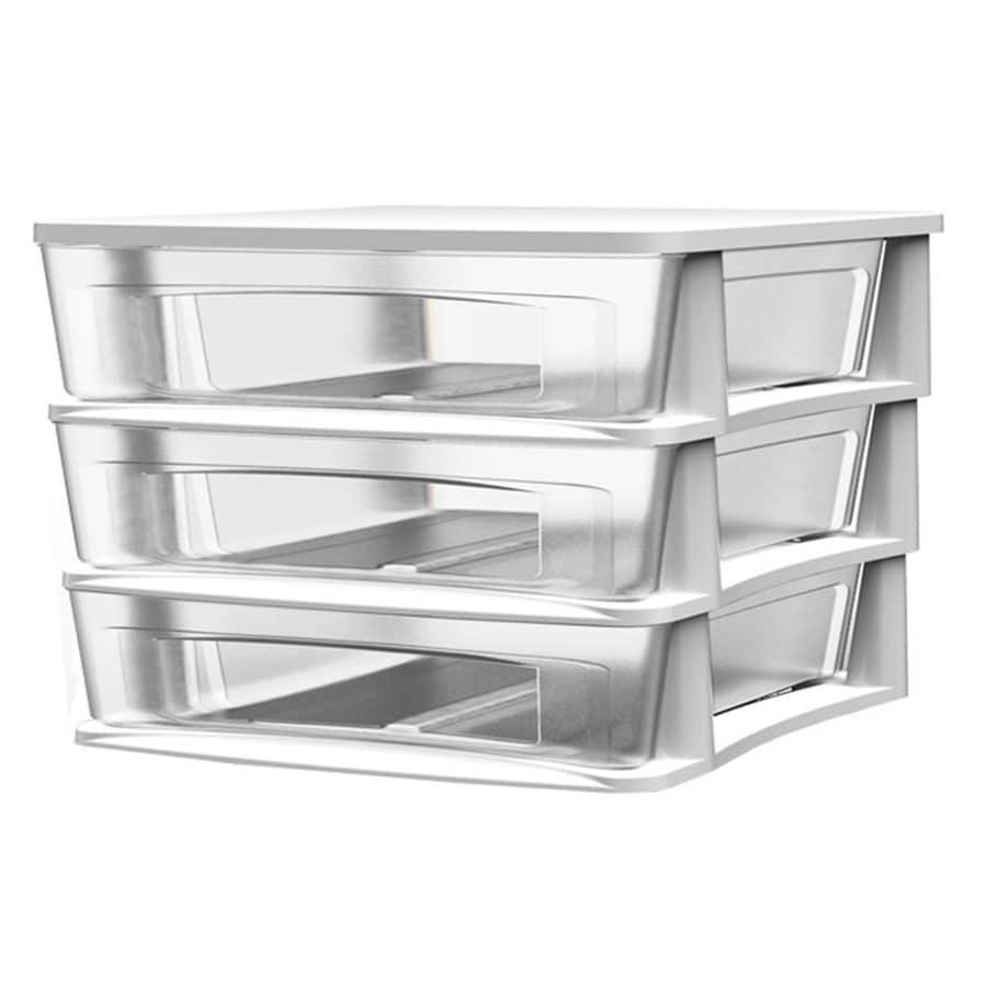 Desk Top Drawers Style Selections 14 5 In W X 12 75 In H 3 Drawers White Clear