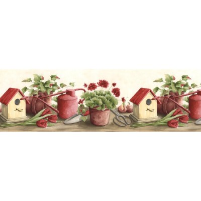 Shop Norwall 9.5-in Red Prepasted Wallpaper Border at Lowes.com