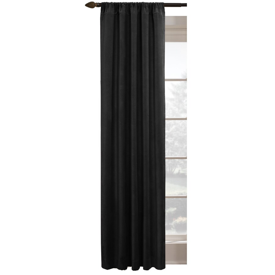 Dark Red Blackout Curtains Style Selections Agnes 84 In L Blackout Solid Black Thermal Rod