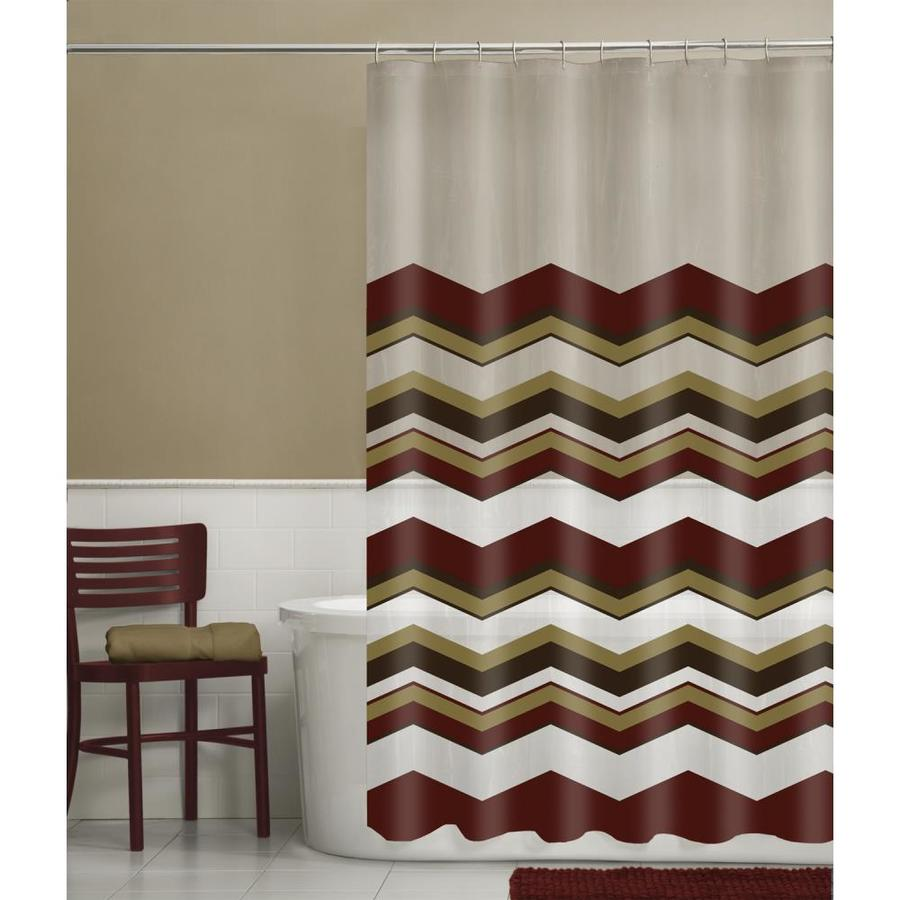 Red And Brown Shower Curtain Eva Peva Chevron Red Geometric Shower Curtain At Lowes