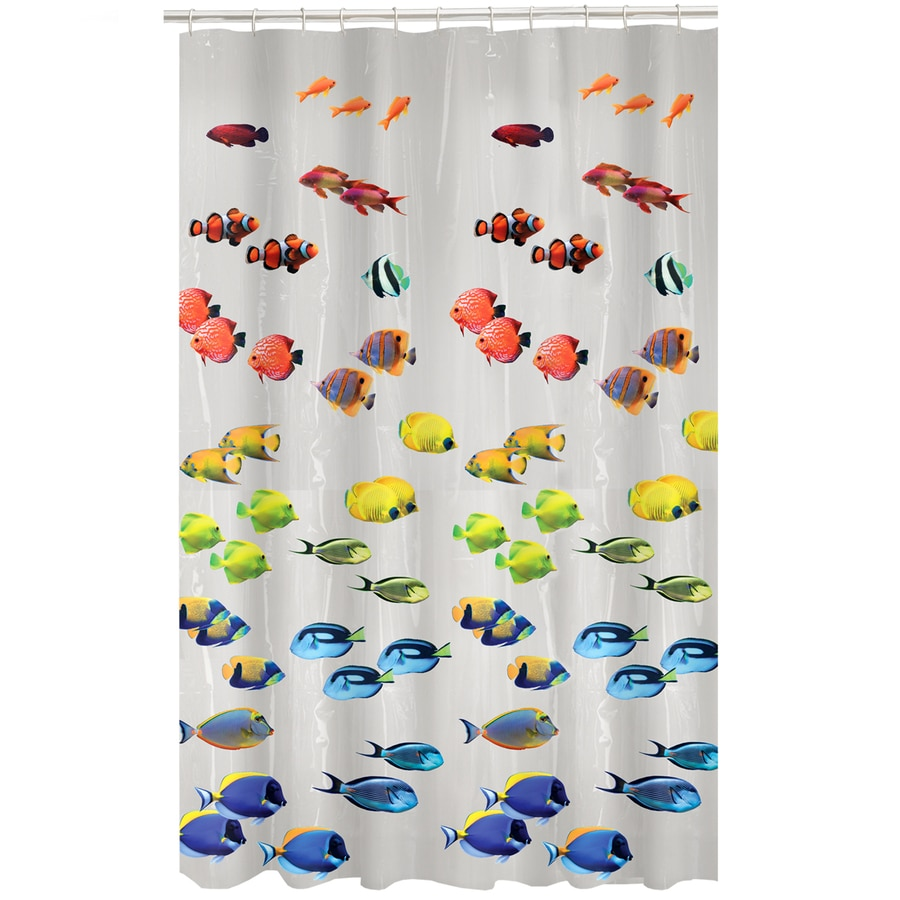 Style selections eva peva print multi fish shower curtain