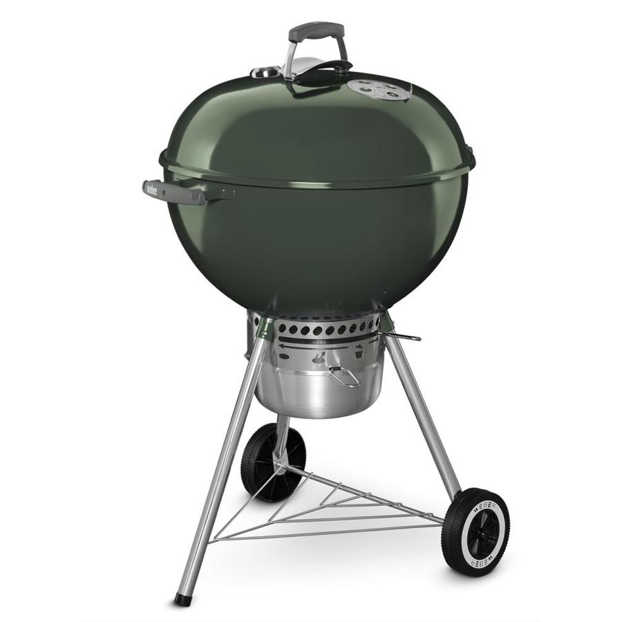 Weber Grill Thermometer Weber Original Premium 22 In Green Kettle Charcoal Grill At Lowes