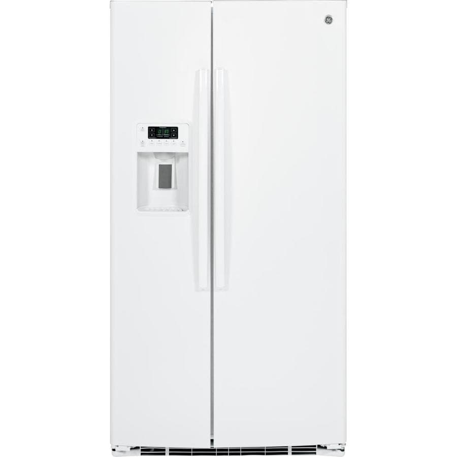 Ge 25 4 cu ft side by side refrigerator with ice maker white