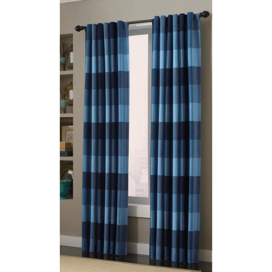 How To Make Lined Curtain Panels Allen Roth Emilia 84 In Blue Polyester Back Tab Light Filtering