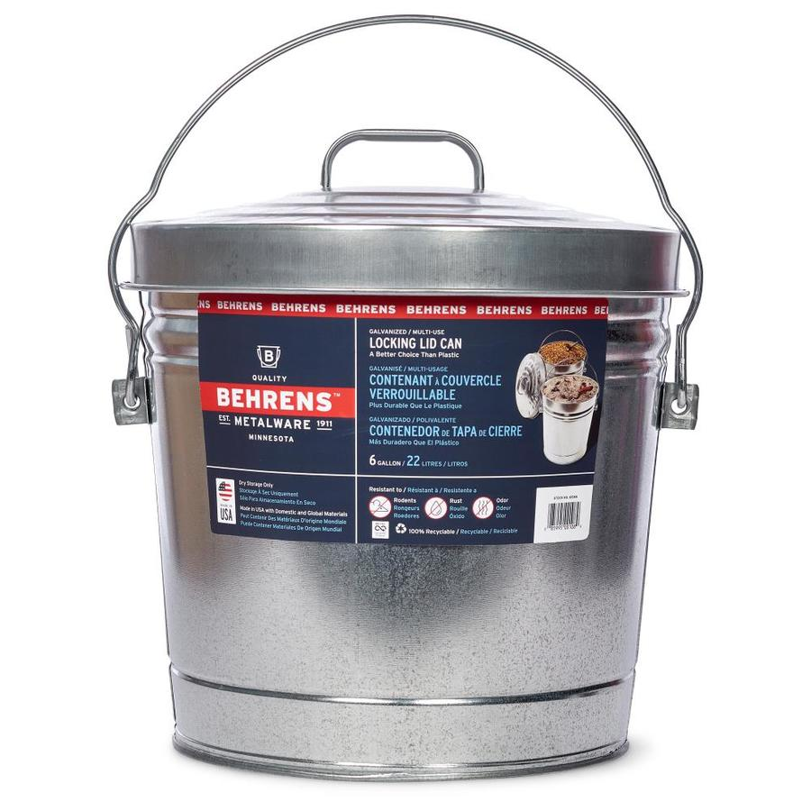 Small Kitchen Trash Cans Behrens 6 Gallon Galvanized Steel Trash Can With Lid At Lowes