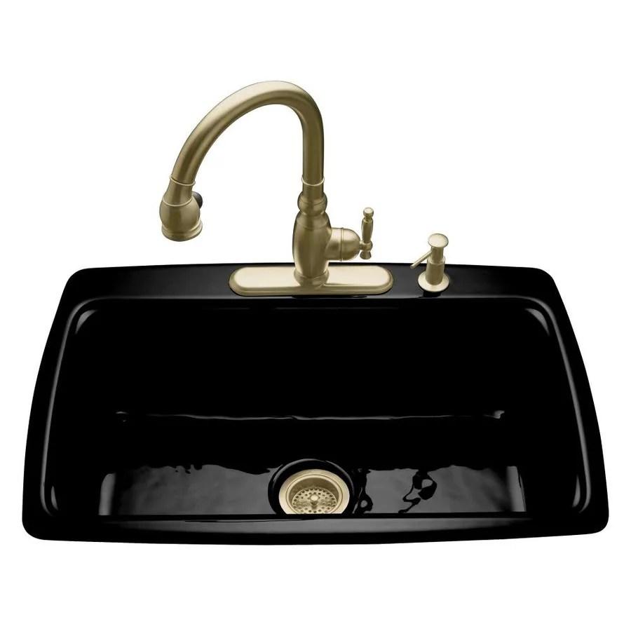 Shop Kohler Cape Dory 22 In X 33 In Black Single Basin