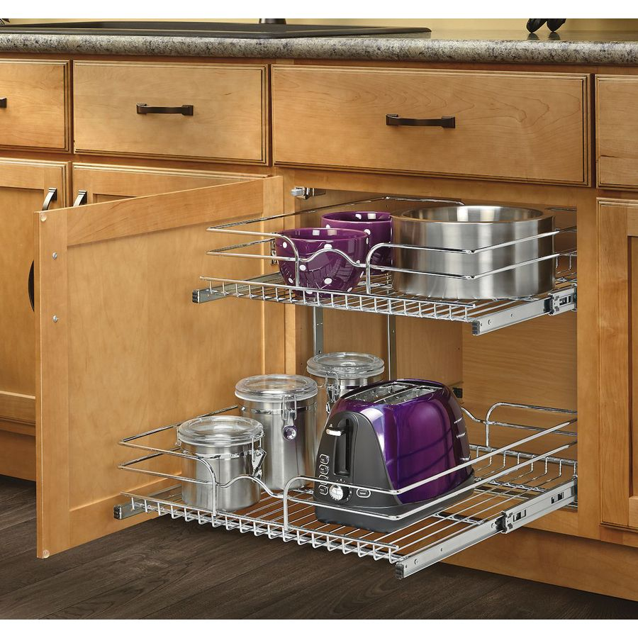 Kitchen Cabinets With Pull Out Shelves Rev A Shelf 20 75 In W X 19 In H Metal 2 Tier Pull Out Cabinet