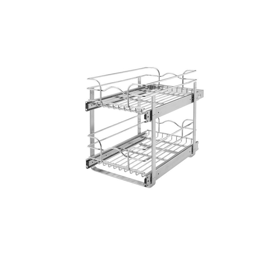 Kitchen Cabinets With Pull Out Shelves Rev A Shelf 8 75 In W X 19 In 2 Tier Metal Basket At Lowes