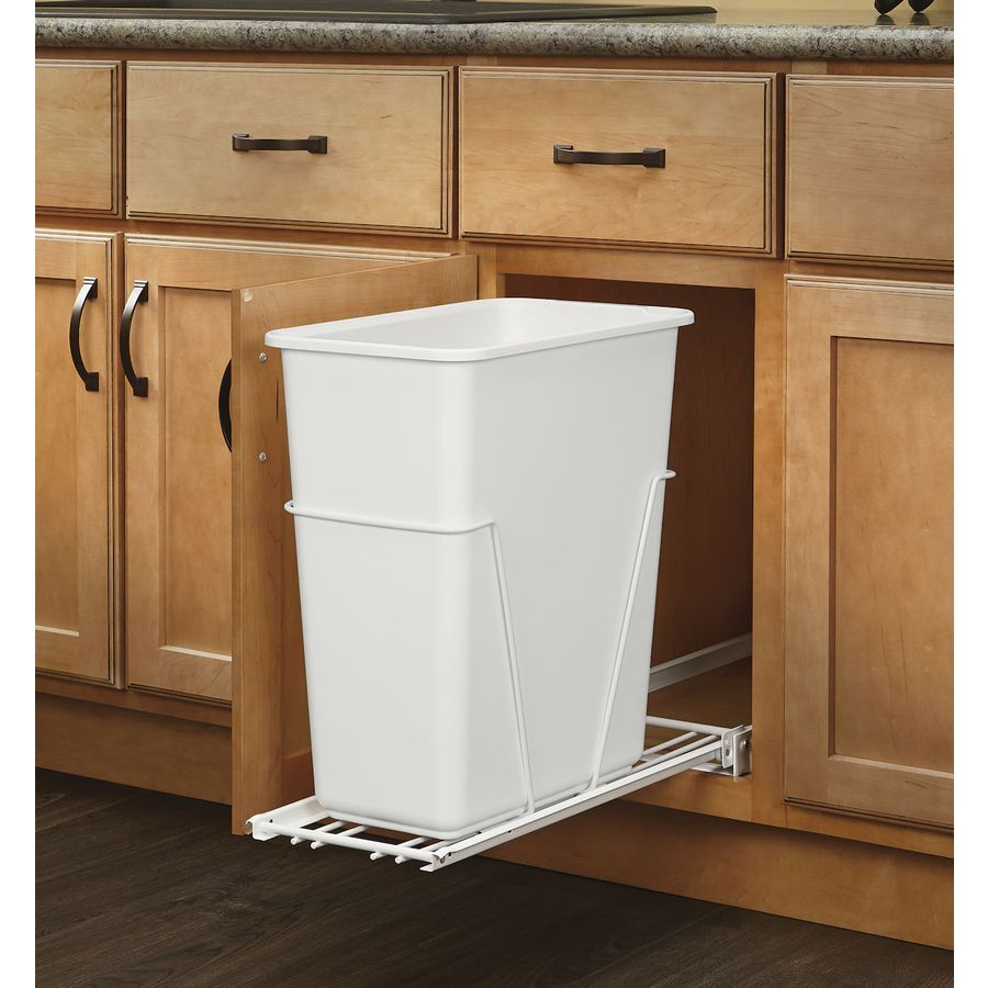 Small Kitchen Trash Cans Rev A Shelf 30 Quart Plastic Pull Out Trash Can At Lowes
