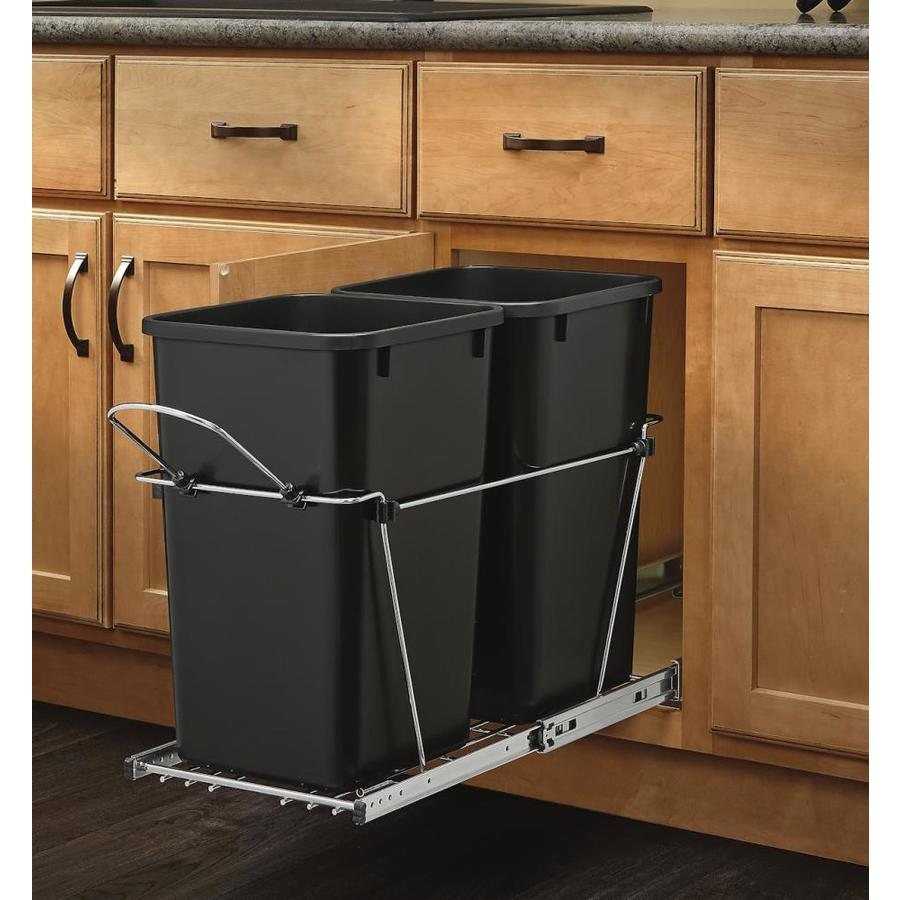 Laundry Trash Cans Rev A Shelf 27 Quart Plastic Pull Out Trash Can At Lowes