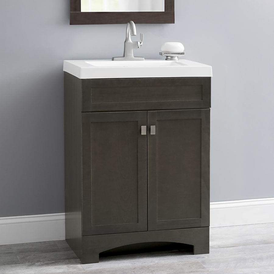 Style selections drayden gray integrated single sink bathroom vanity with cultured marble top common