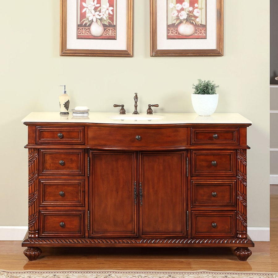 Silkroad exclusive victoria cherry undermount single sink bathroom vanity with natural marble top common
