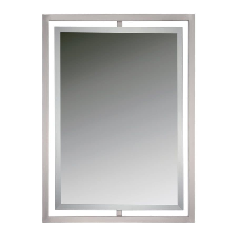 Bathroom Mirror Brushed Nickel Quoizel Reflections 32 In L X 24 In W Brushed Nickel Beveled Wall
