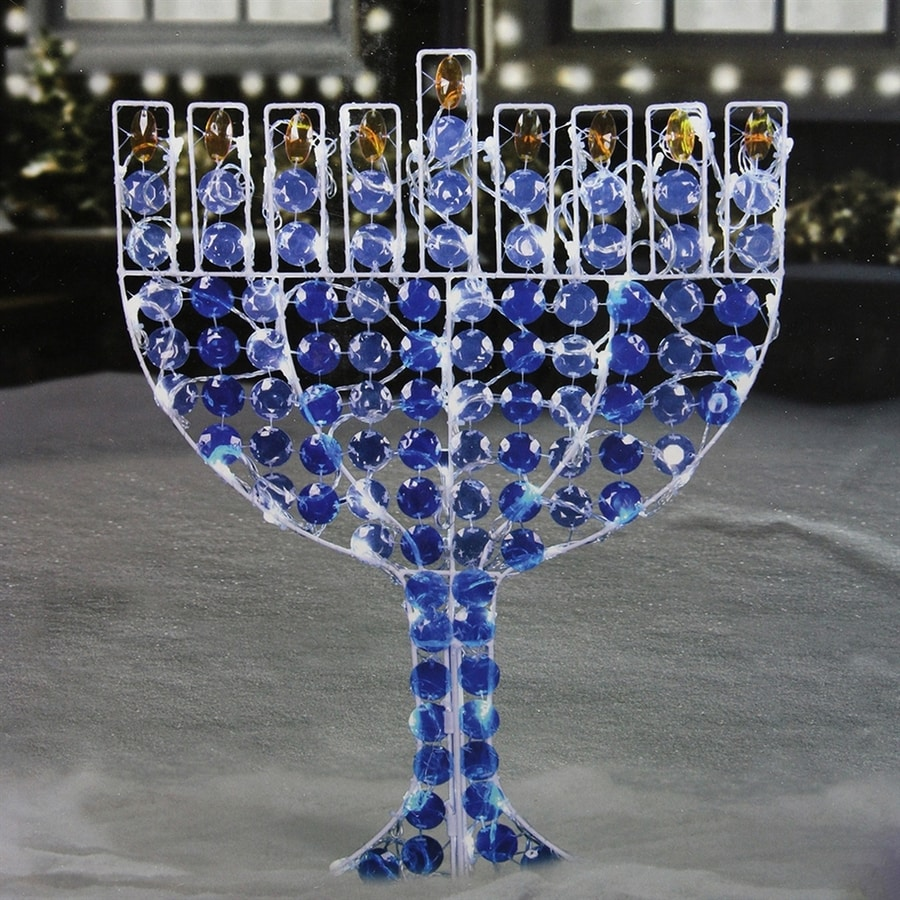 Lit Metal Northlight Pre Lit Metal Freestanding Menorah With White Led