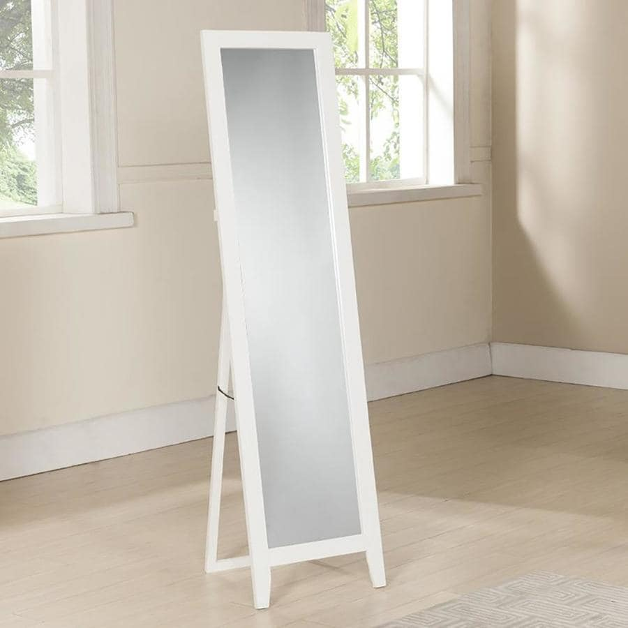 White Floor Mirror Kb Furniture 59 In L X 15 In W White Polished Floor Mirror At