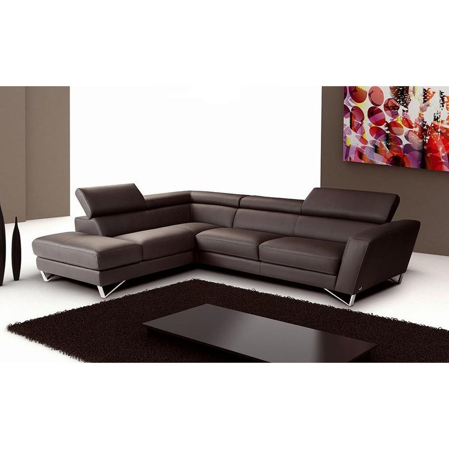 Genuine Leather Sectional Canada J M Furniture Sparta Chocolate Genuine Leather Sectional At Lowes