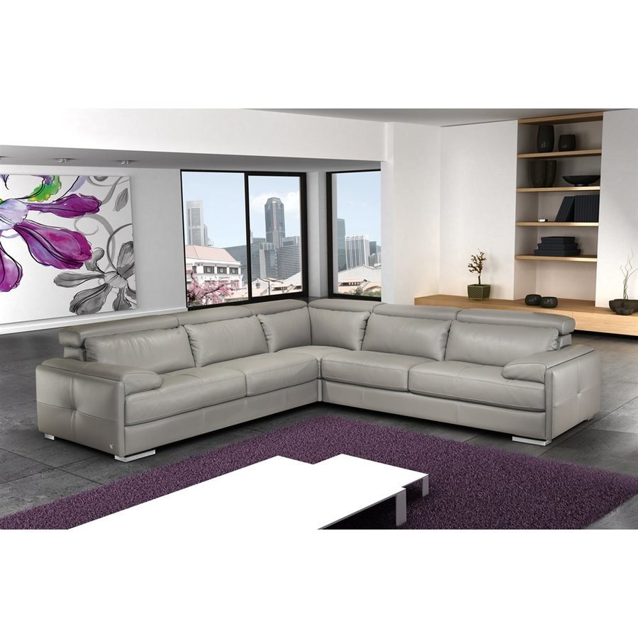 Genuine Leather Sectional Canada J M Furniture Gary Modern Gray Genuine Leather Sectional At Lowes