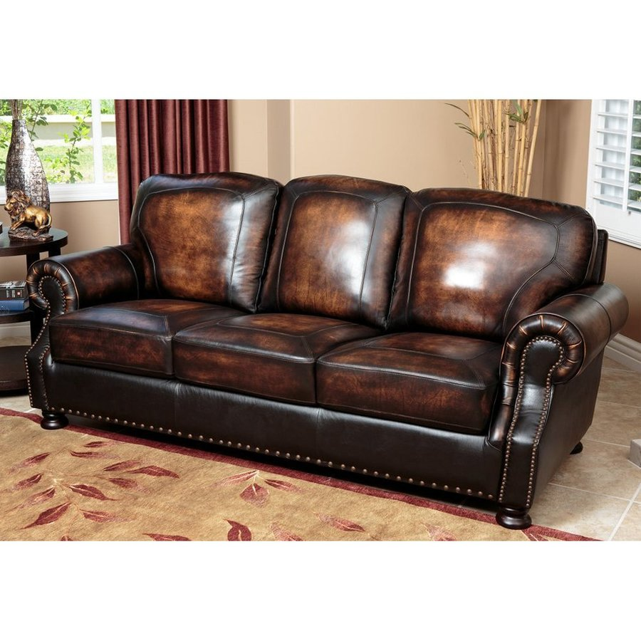 Brown Real Leather Couch Pacific Loft Sienna Brown 2 Tone Genuine Leather Sofa At Lowes